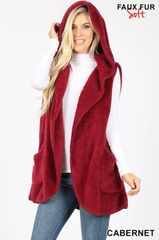 Ash Grey/Cabernet Faux Fur Hooded Vest with Pockets