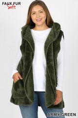 Army Green Plus Size Faux Fur Hooded Vest with Pockets