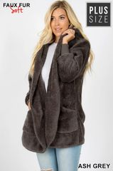 Ash Grey Plus Size Faux Fur Jacket