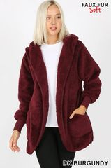 Dark Burgundy/Dark Olive Faux Fur Hooded Jacket with Pockets
