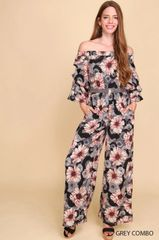 Grey Floral Off Shoulder Jumpsuit with Belt and Pockets