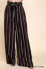 Black Striped Paper Bag Wide Leg Pants