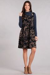 Navy/Taupe Floral Midi Dress with Button Cowl Neck