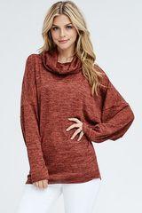 Rust Dolman Cowl Neck Sweater