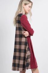 Burgundy Sweater Dress w/Checkered Back and Pockets