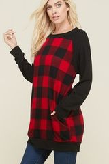 Red/Black Buffalo Plaid Tunic with Pockets