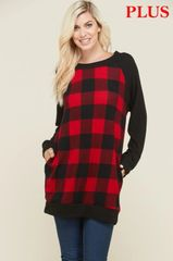 Red/Black Buffalo Plaid Plus Size Tunic with Pockets