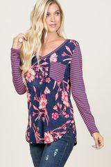 Navy/Coral Floral and Striped Top