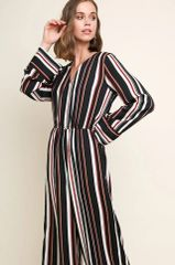 Black Multi Striped Long Sleeve V Neck Jumpsuit