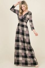 Black Plaid 3/4 Sleeve Faux Wrap Maxi Dress