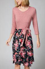 Black Floral 3/4 Sleeve Ruffle Hem Dress