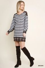 Brown/Grey Checkered and Striped Tunic/Dress