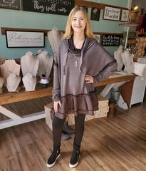 Ash Grey Cowl Neck Ruffle Hem Tunic