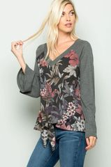 Charcoal Floral Bell Sleeve Front Knot Top