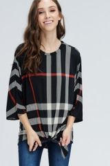 Black Plaid 3/4 Sleeve Top