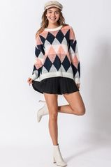 Ivory Argyle Pullover Sweater