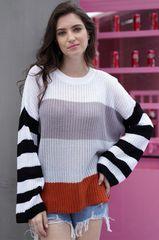 Grey/White/Rust Multi Striped Sweater