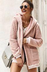Blush Pink Faux Fur Hooded Coat