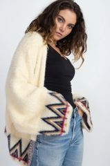 Cream Multi Tribal Soft Faux Mohair Cardigan