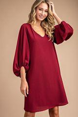 Burgundy Shirred Cuff Dress