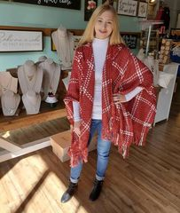 Red Plaid Hooded Cape/Poncho
