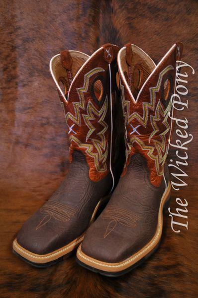 7f2ca958036 Men's Twisted X Orange Lite Cowboy Work Boots - Steel Toe