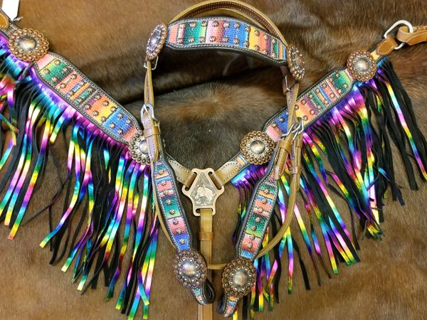 Serape Print Fringe Headstall and Breastplate Set