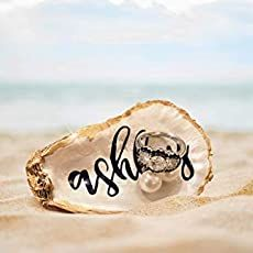 Maryland's Eastern Shore Oyster Dish with Calligraphy, Ring Dish, Wedding Favor, Beach Decor