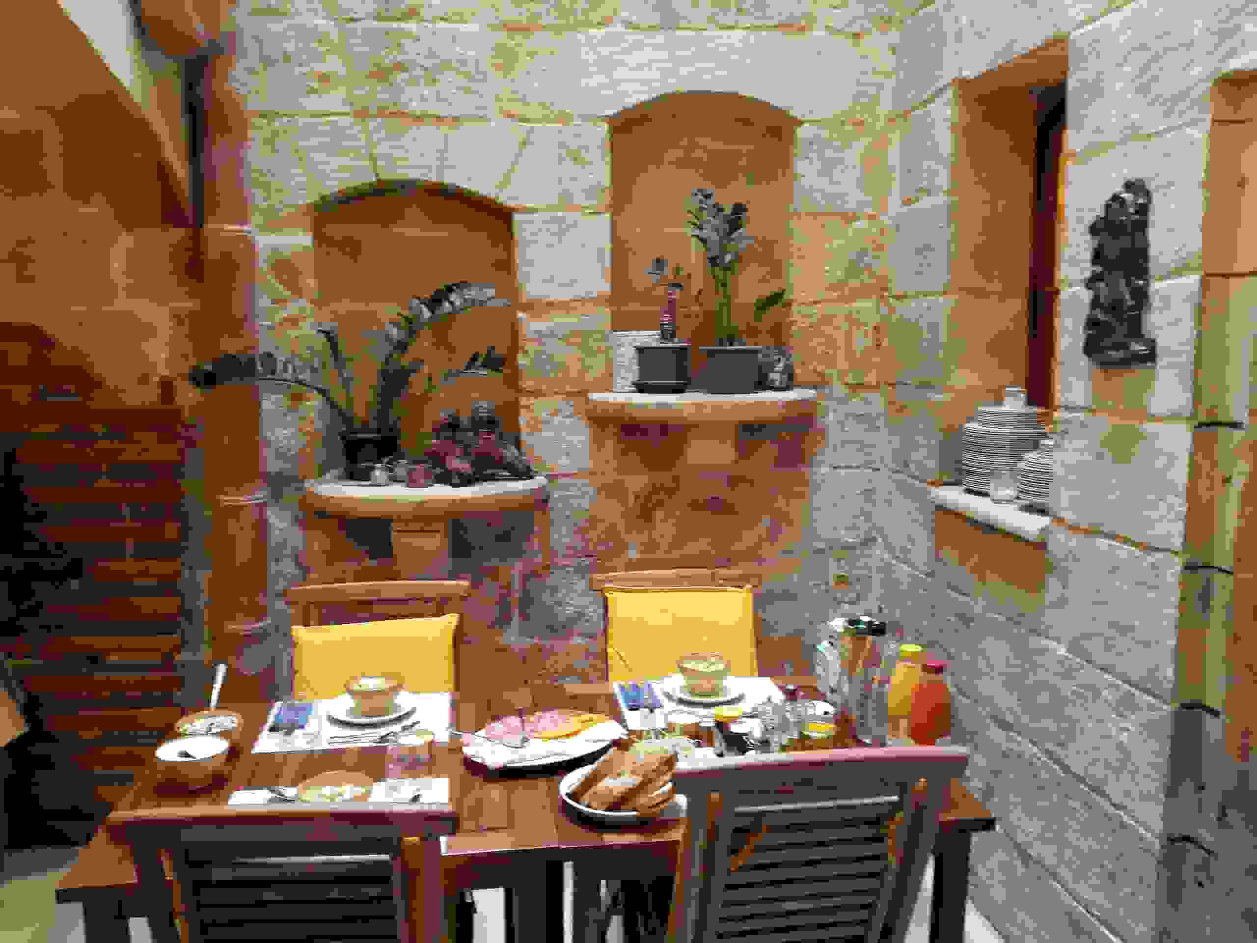 Courtyard where breakfast is served at The 3Cities Auberge