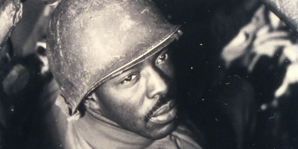 WWII photo Black soldier in tank