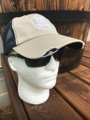 6887 Organic Cotton, Distressed Mesh Cap, Khaki/Navy