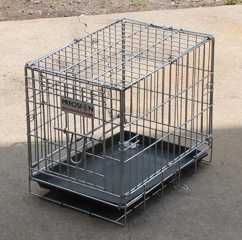 Precision Fold Up Portable Chrome Wire Pet Kennel w/ Tray