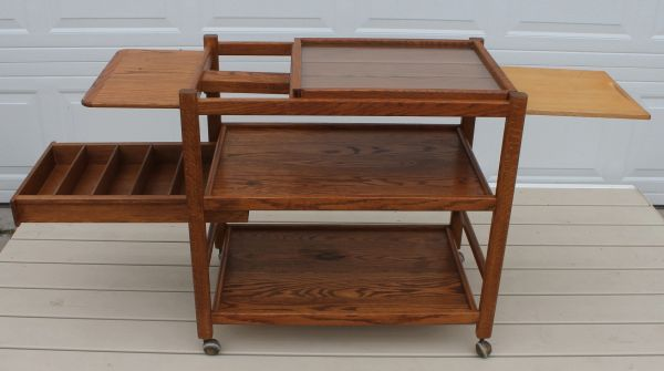 Oak Kitchen Cart with Cutting Board