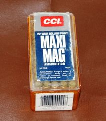 40 Rounds CCI 22 WMR Hollow Point Maxi Mag Bullets/Ammunition