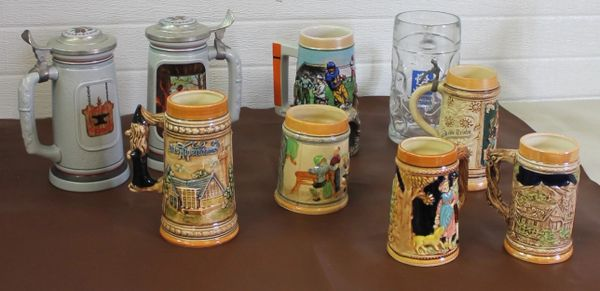 Lot of 9 Beer Steins