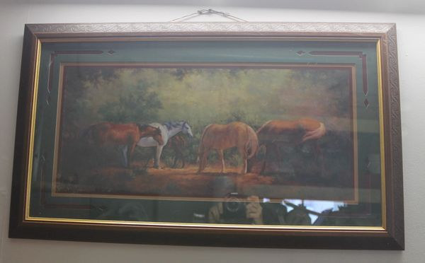 Wood Framed Painting Picture of Horses