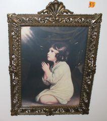 Vintage Metal Framed Girl Praying Print Picture