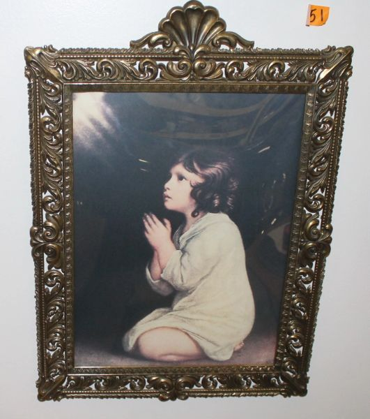 Vintage Metal Framed Girl Praying Print Picture