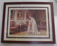 Wood Framed Victorian Print Picture