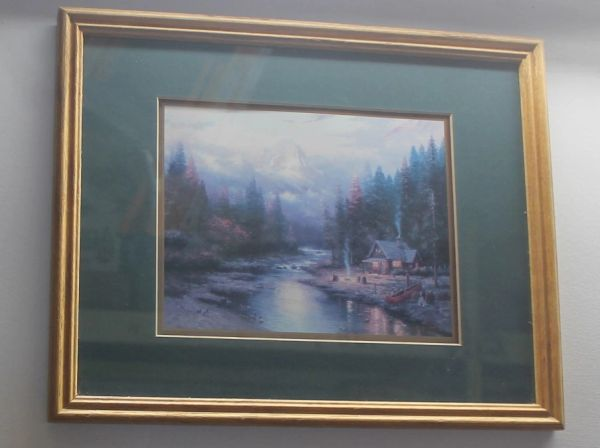 Log Cabin by Stream Gold Framed Print Picture