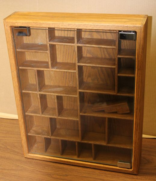Solid Oak and Glass Display Case for Minitures