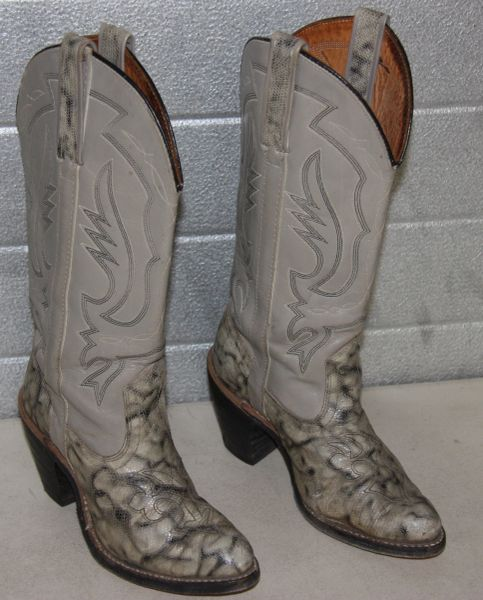 Miss Capezio's Snakeskin Bottom Western Cowgirl Boots-6M