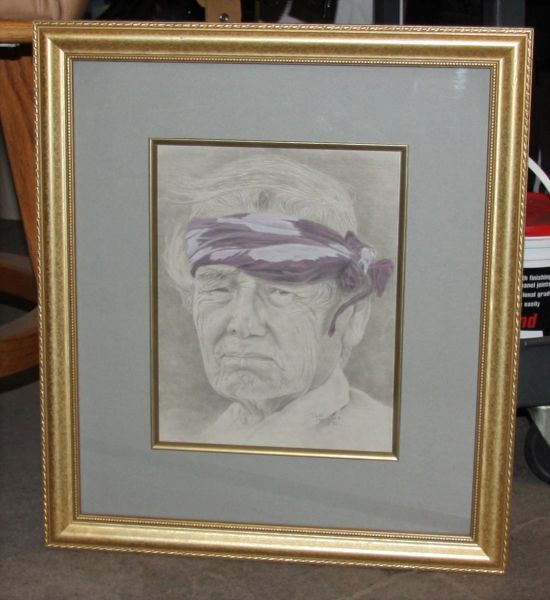 """Native Man"" Gold Framed Ink Portrait by Paula Morgan '85"
