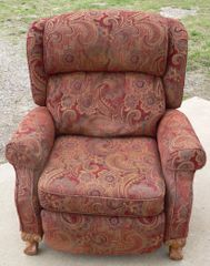 Reddish Color Cloth Recliner W. Claw Feet