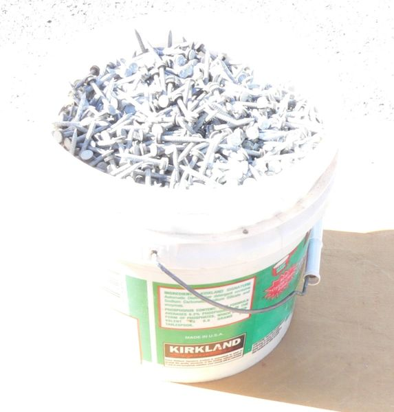 "24 lbs of 1 3/4"" Galvanized w/ Rubber Washers Nails"