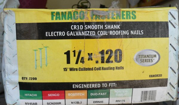 """14.5 lbs 1 1/2"""" x .120 15 degree Wire Collated Coil-Roofing Nails"""