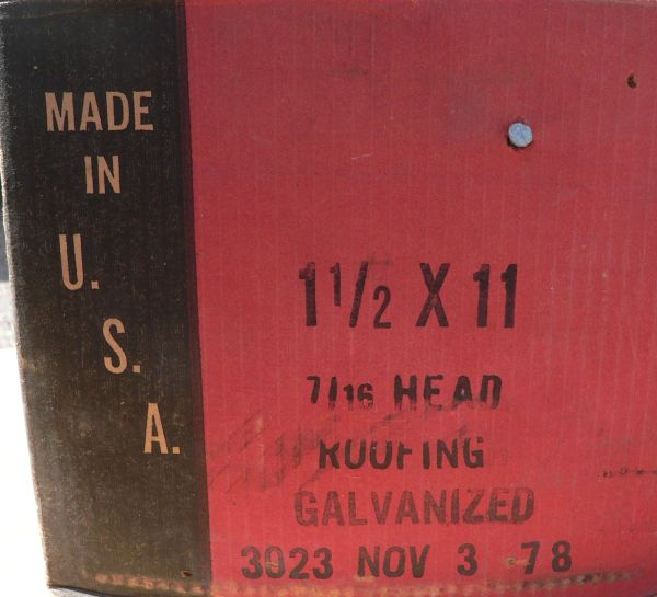 """20 lbs of 1 1/2"""" x 11 . 7/16"""" Head Galvanized Roofing Nails"""