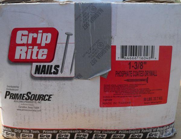 """45 lbs of 1-3/8"""" Phosphate Coated Drywall Grip Rite Nails"""