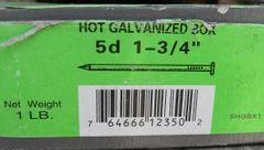 "Hot Galvanized 5d 1-3/4"" Grip Rite 1/2 lb Box"
