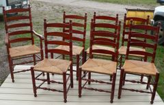 7 Cherry Wood Ladder Back Chairs with Wicker Seat